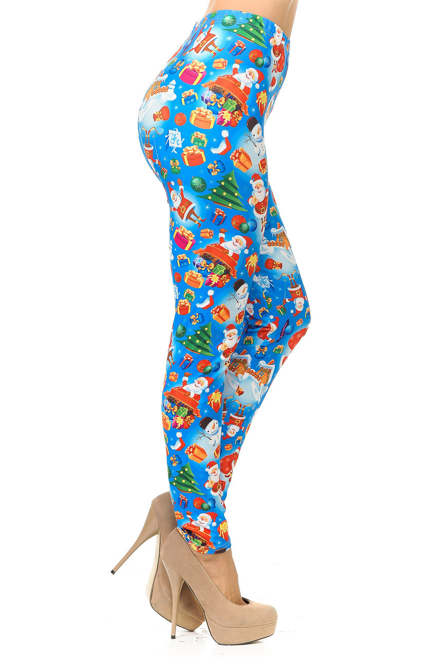 Right side view image of Creamy Soft Gorgeous Blue Christmas Leggings