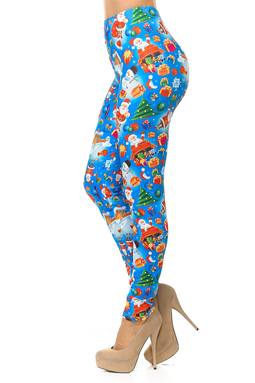 Left side view image of Creamy Soft Gorgeous Blue Christmas Leggings
