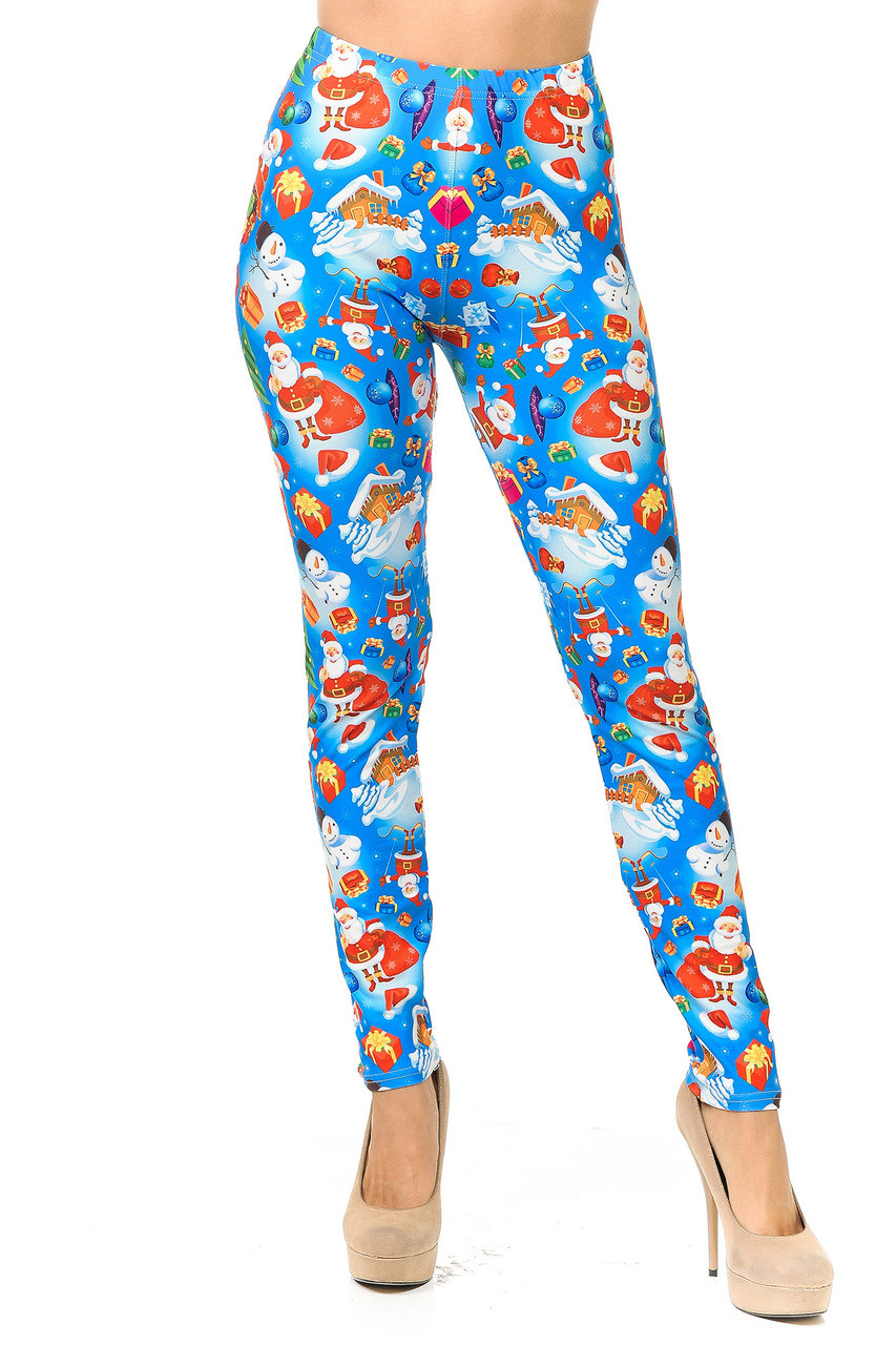 Our Creamy Soft Gorgeous Blue Christmas Leggings feature an elastic waistband that comes up to about mid rise.