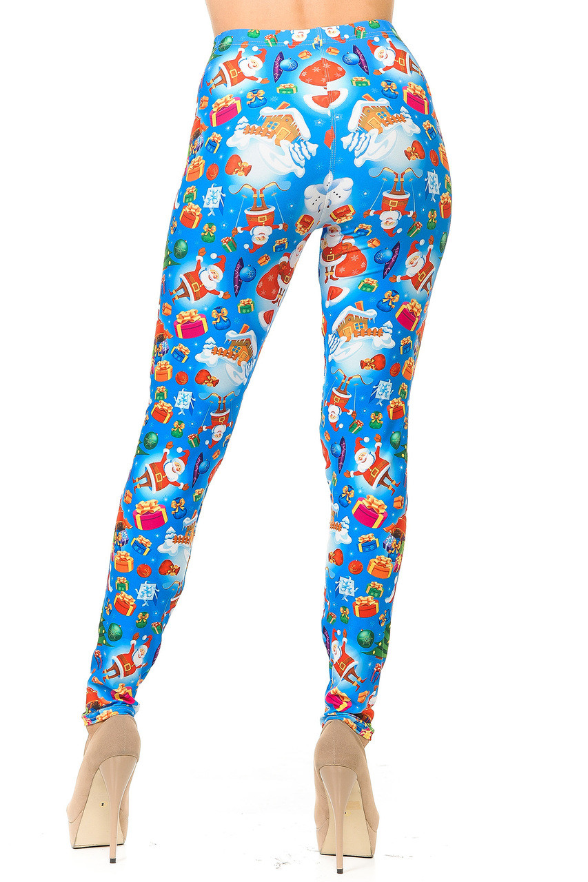 Rear view image of Creamy Soft Gorgeous Blue Christmas Leggings showing off the continued all over design.