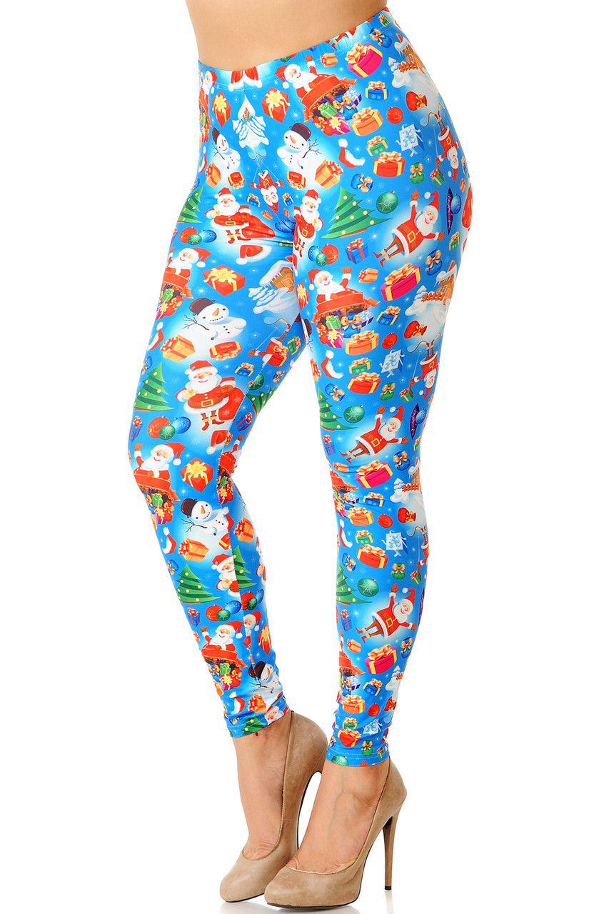 Partial angled front view image of Creamy Soft Gorgeous Blue Christmas Plus Size Leggings featuring a vibrant holiday themed print consisting of Santa, snowman, presents, and more atop a bright blue background.