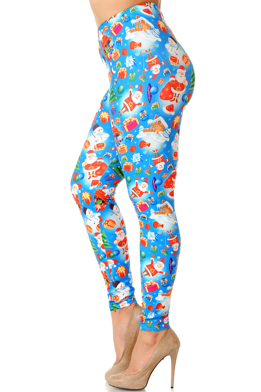 Left side view image of Creamy Soft Gorgeous Blue Christmas Plus Size Leggings