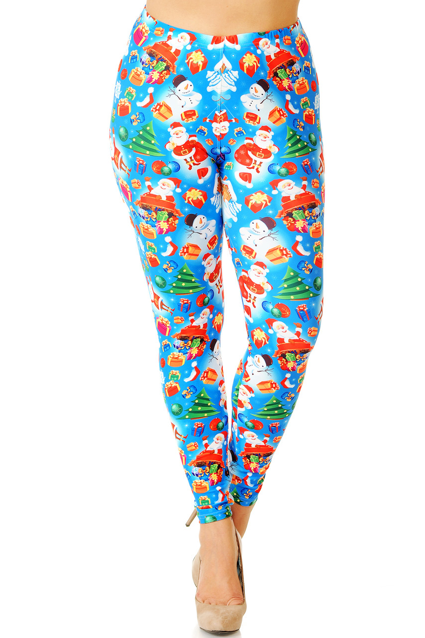 Our Creamy Soft Gorgeous Blue Christmas Plus Size Leggings feature an elastic waistband that comes up to about mid rise.