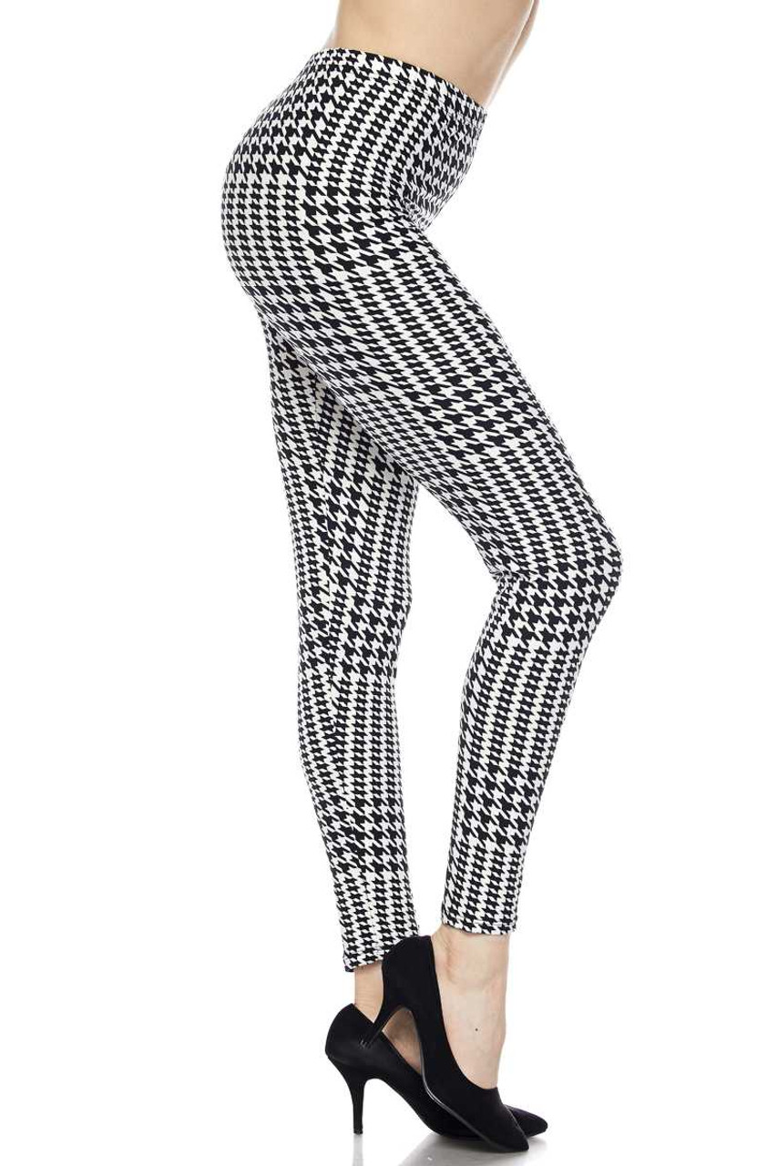 Right side leg image view of Buttery Soft In Motion Houndstooth Plus Size Leggings