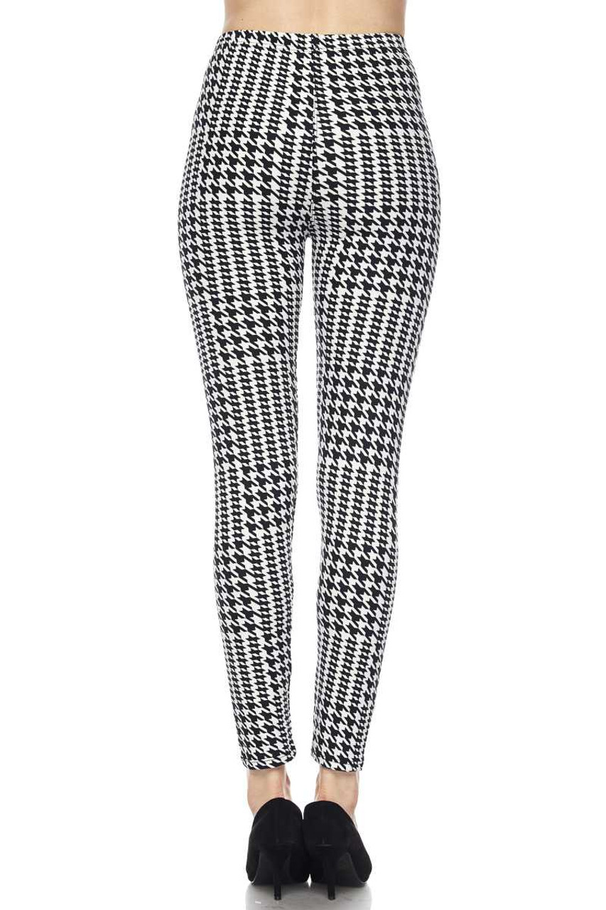 Back view of figure flattering Buttery Soft In Motion Houndstooth Plus Size Leggings