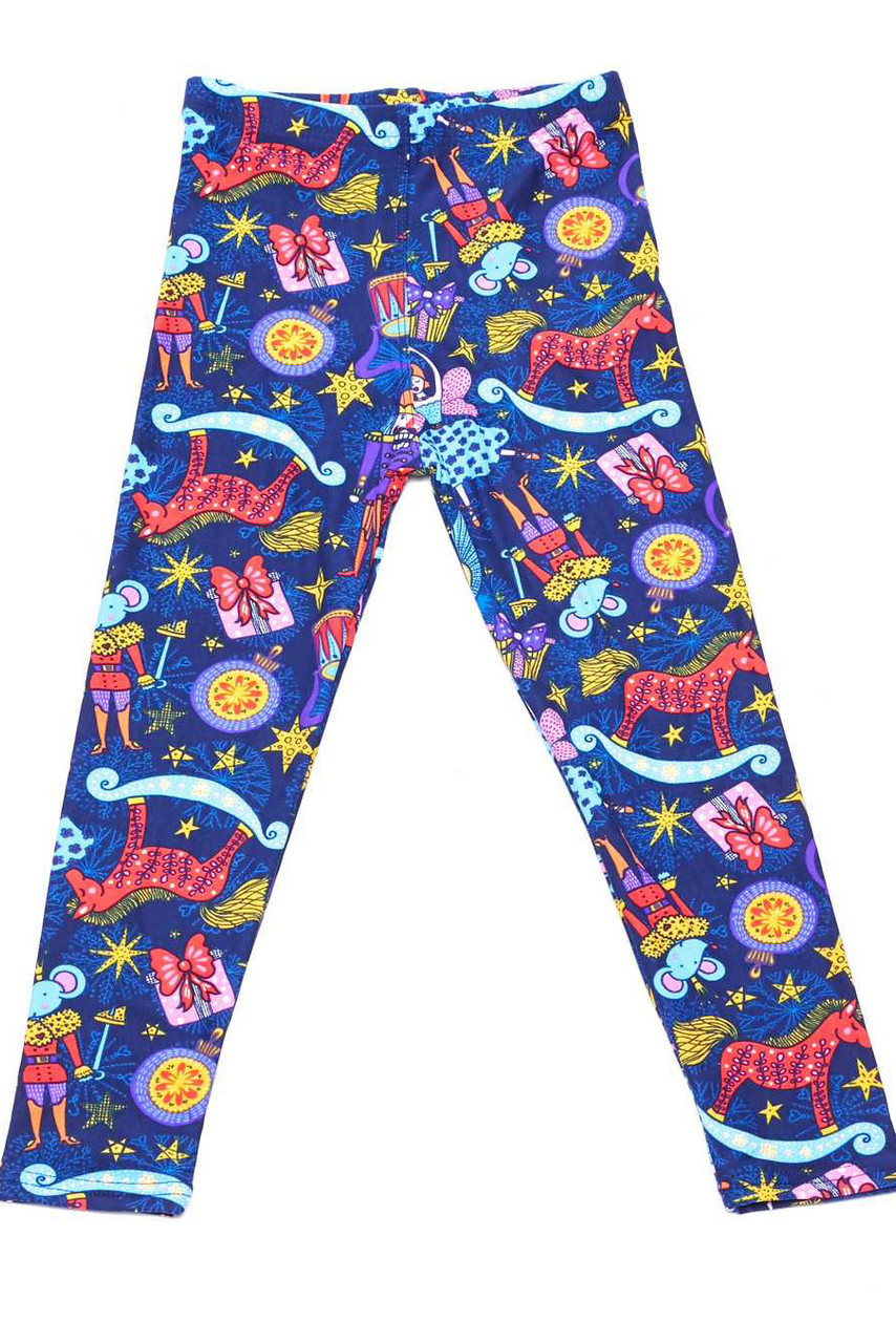 Flat front view image of Buttery Soft Nutcracker Christmas Trinkets Kids Leggings featuring a festive colorful print of iconic imagery from the tale of the Nutcracker.