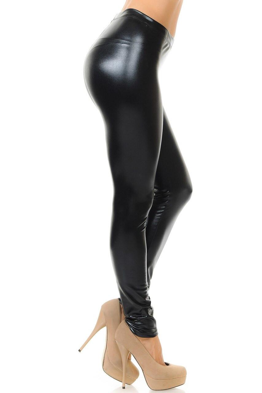Right side view image of Black Shiny Metallic Leggings