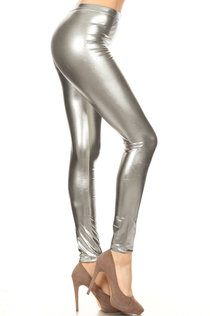 Right side view image of Silver Shiny Metallic Leggings