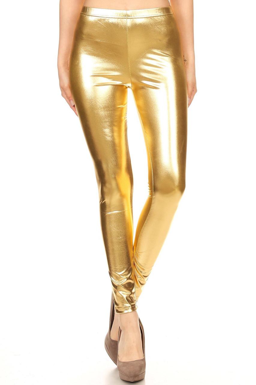 Front view image of gold Shiny Metallic Leggings