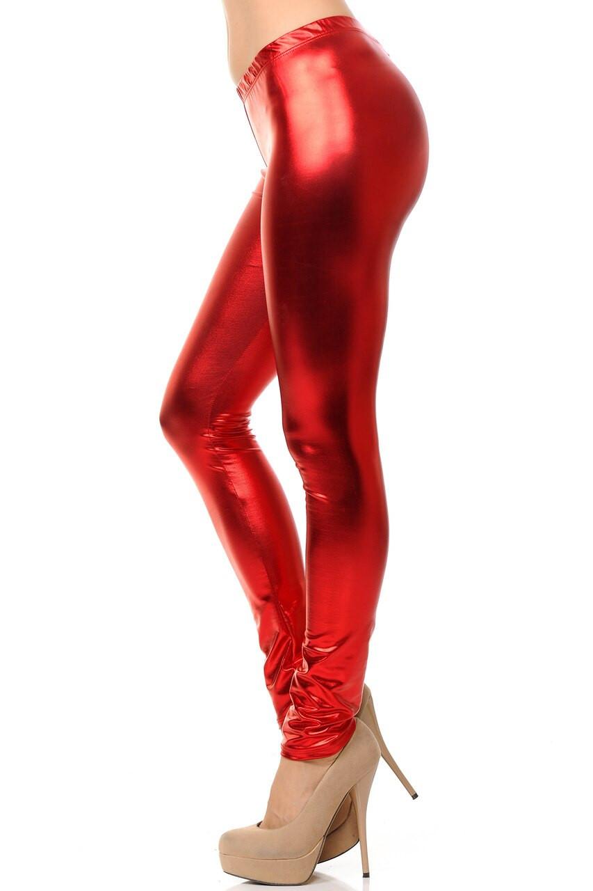 Left side view image of red Shiny Metallic Leggings
