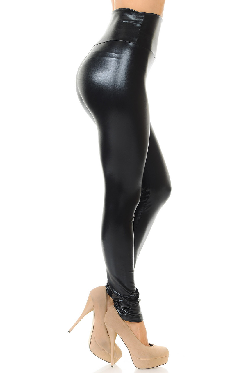 Right side view image of Black Shiny Metallic High Waisted Leggings