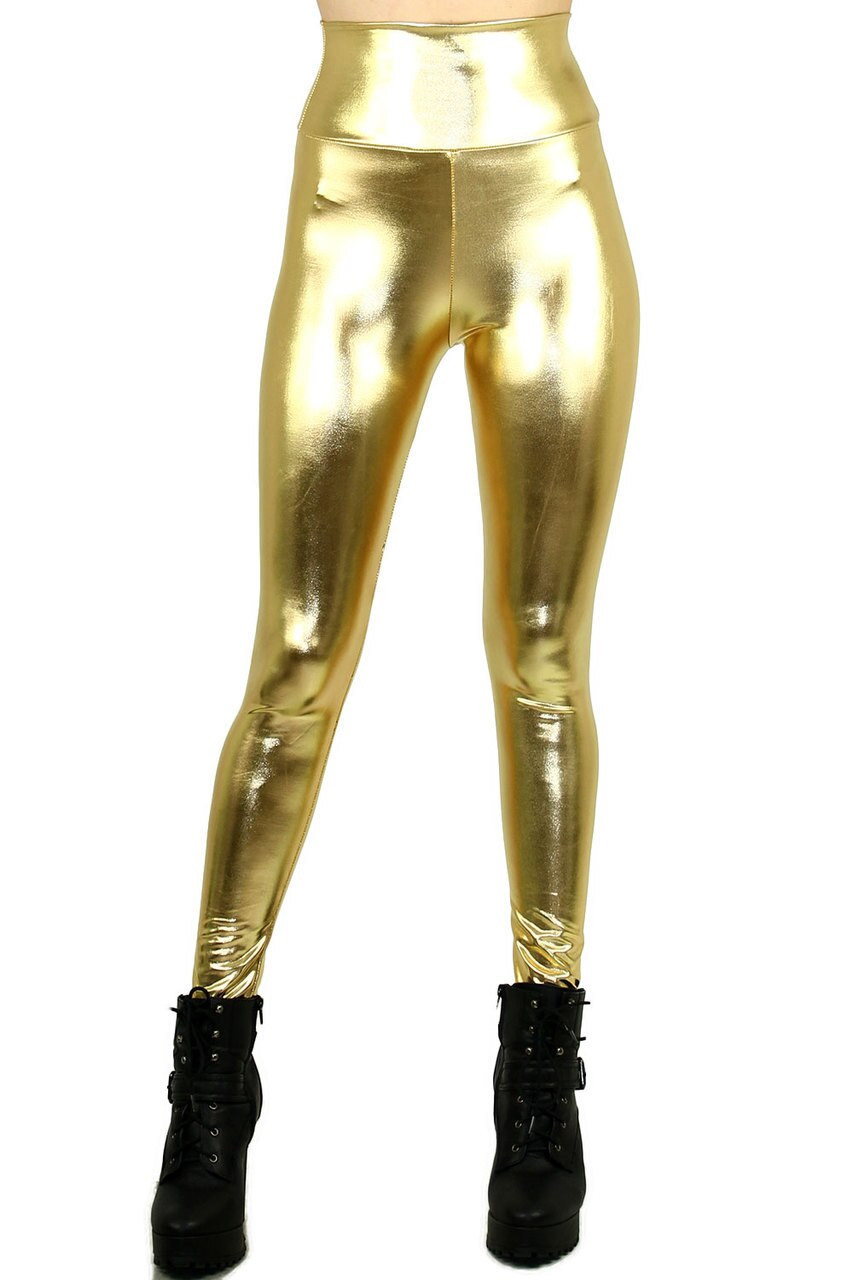 Front view image of Gold Shiny Metallic High Waisted Leggings