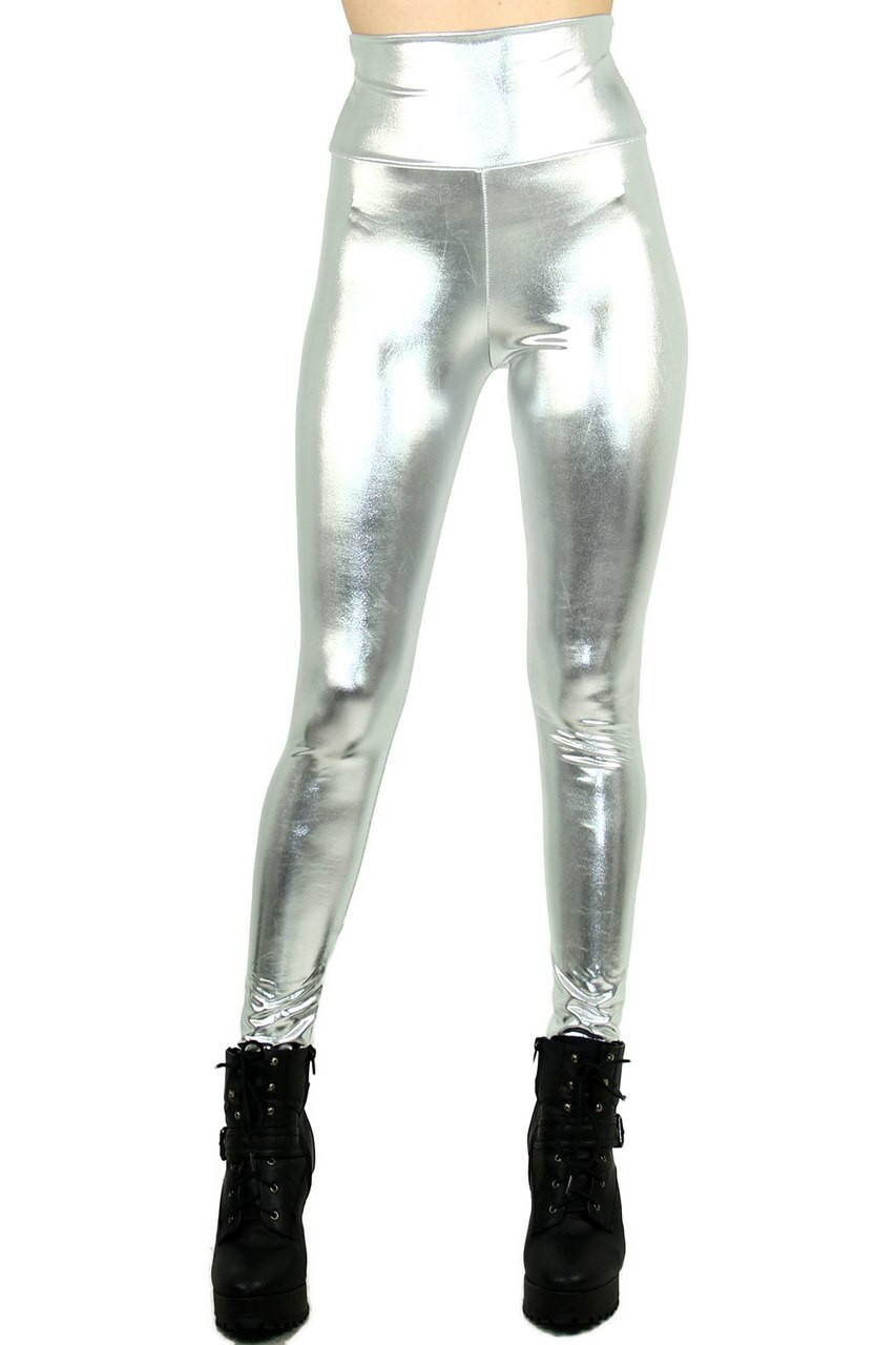 Front view image of Silver Shiny Metallic High Waisted Leggings