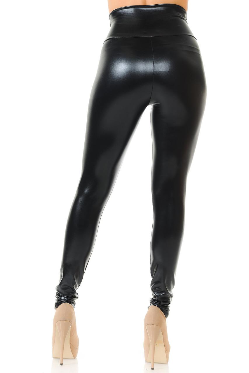 Back view image of  Black Shiny Metallic High Waisted Leggings