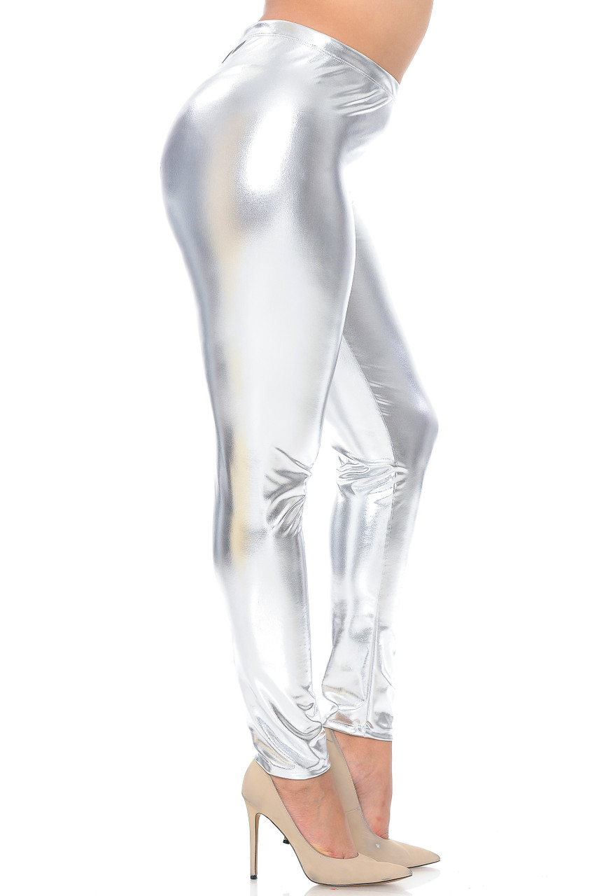 Right side view image of silver Shiny Metallic Plus Size Leggings