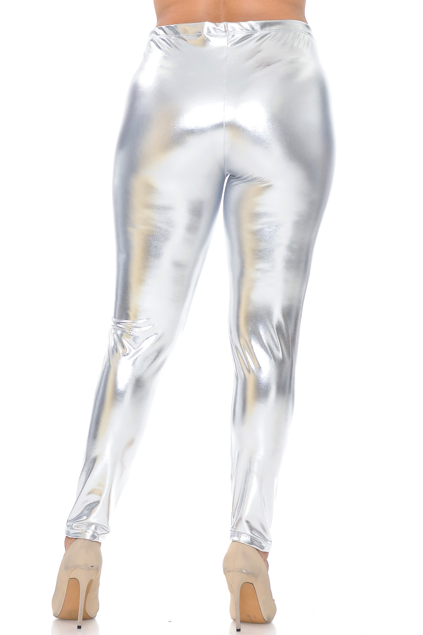 Back view image of silver Shiny Metallic Plus Size Leggings
