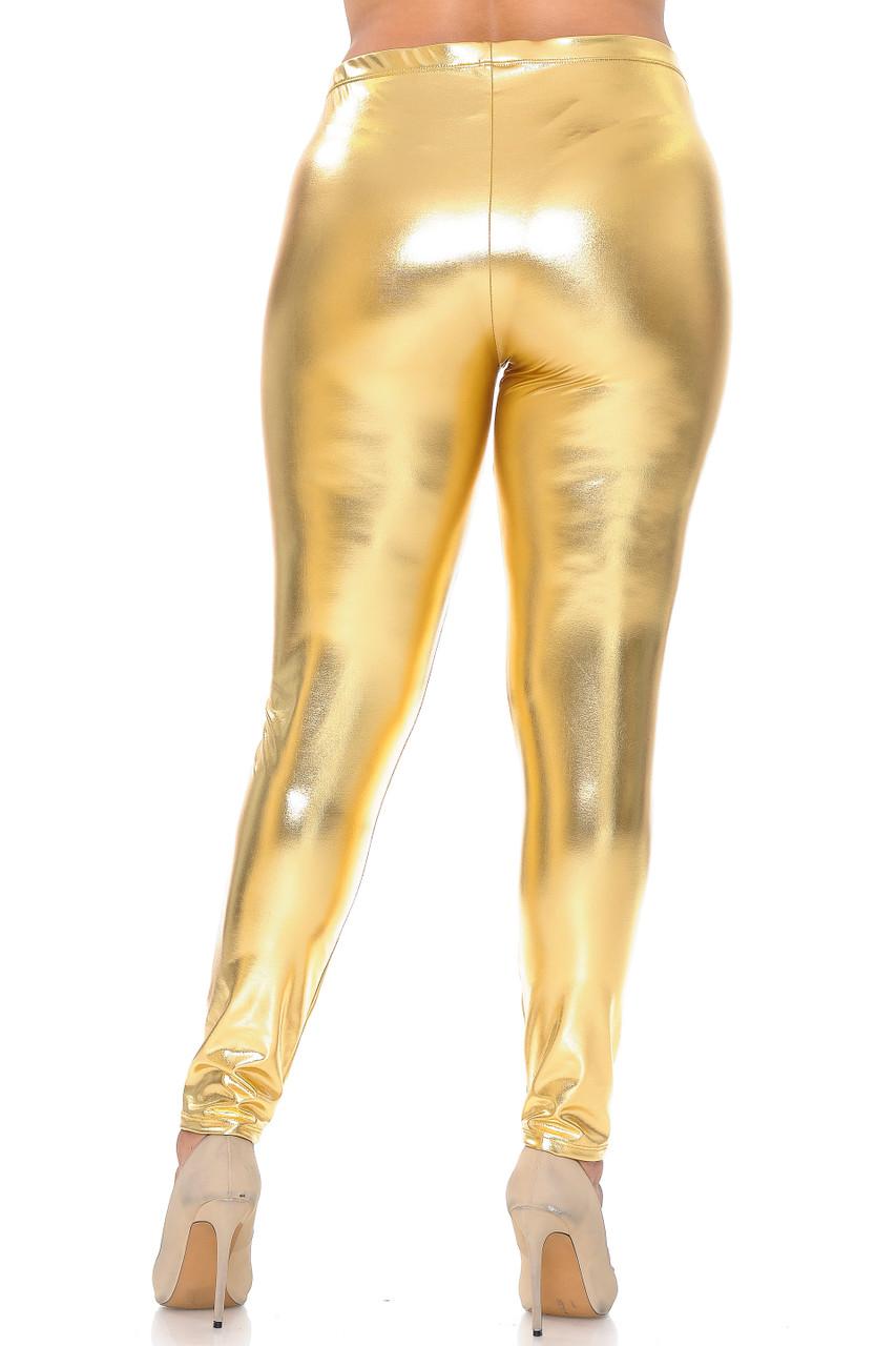 Back view image of gold Shiny Metallic Plus Size Leggings