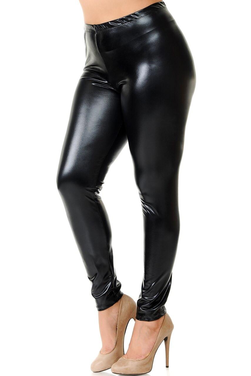 Left side view image of black Shiny Metallic Plus Size Leggings