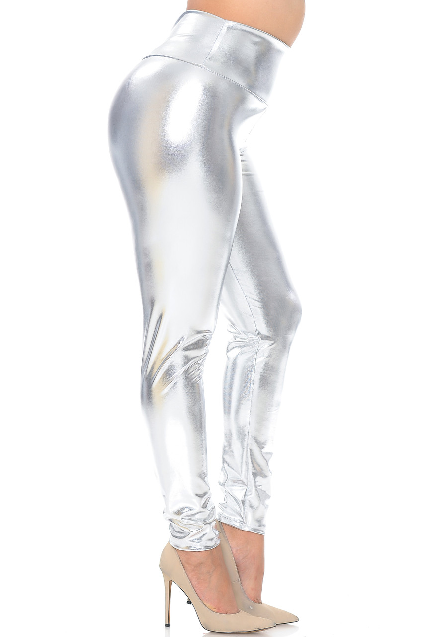 Right side view image of silver Shiny Metallic High Waisted Plus Size Leggings