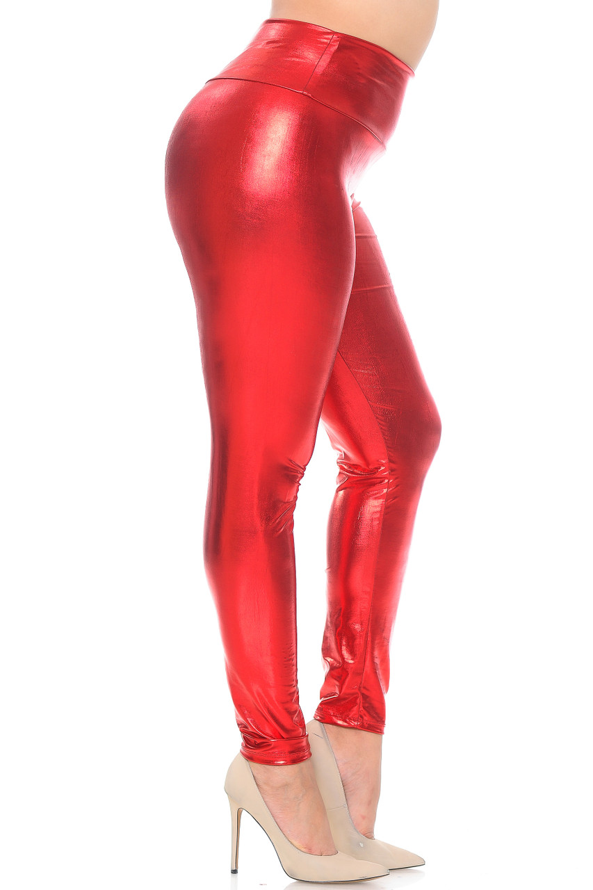 Right side view image of red Shiny Metallic High Waisted Plus Size Leggings