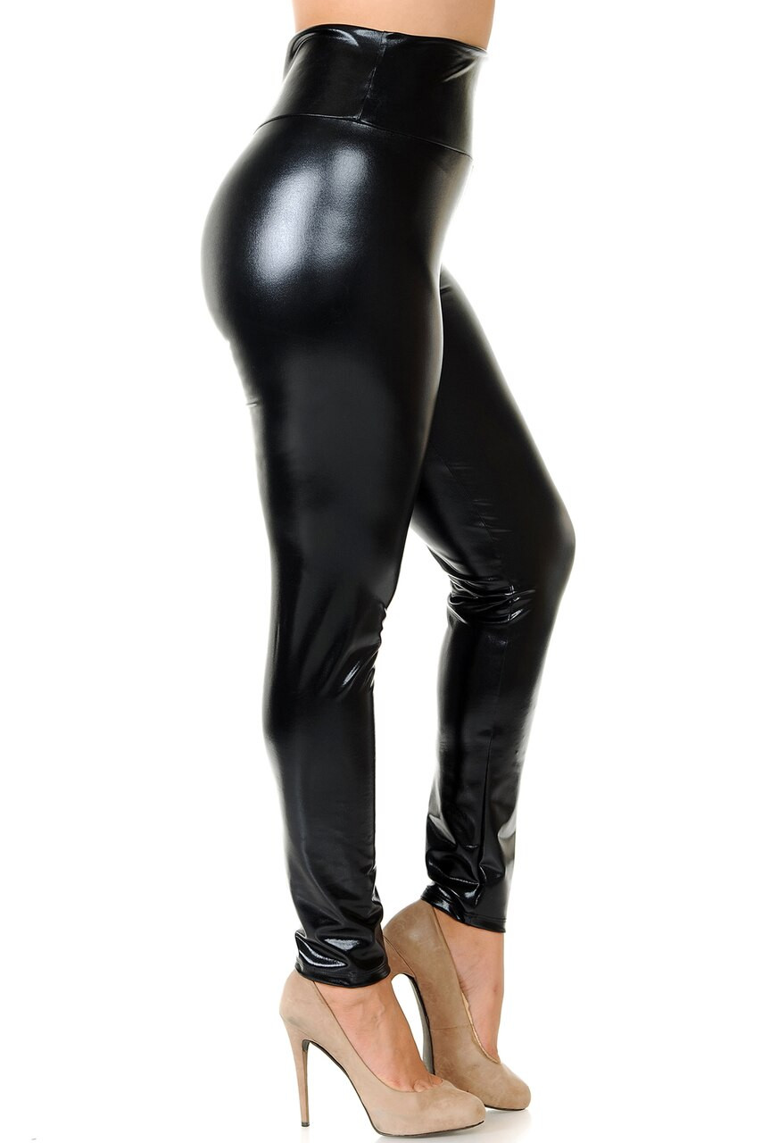 Right side view image of Black Shiny Metallic High Waisted Plus Size Leggings
