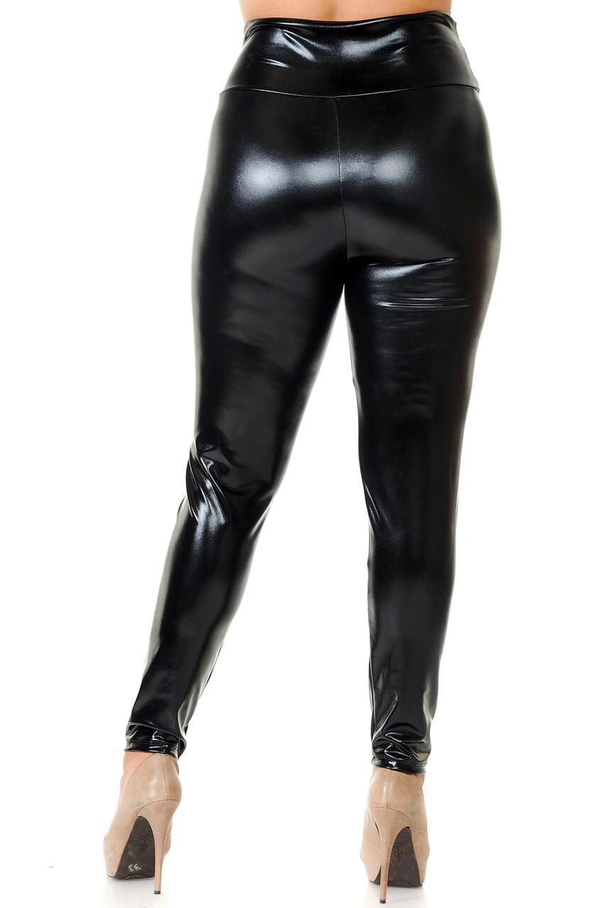 Back view image of Black Shiny Metallic High Waisted Plus Size Leggings