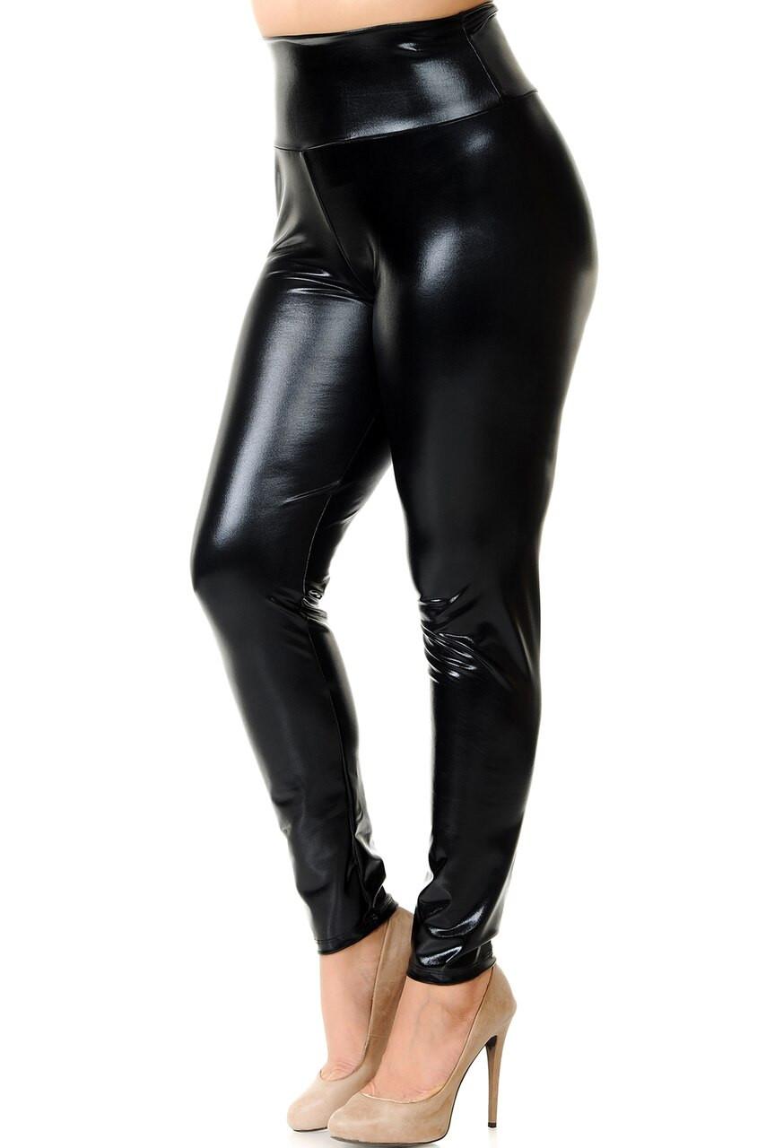 Left side view image of Black Shiny Metallic High Waisted Plus Size Leggings