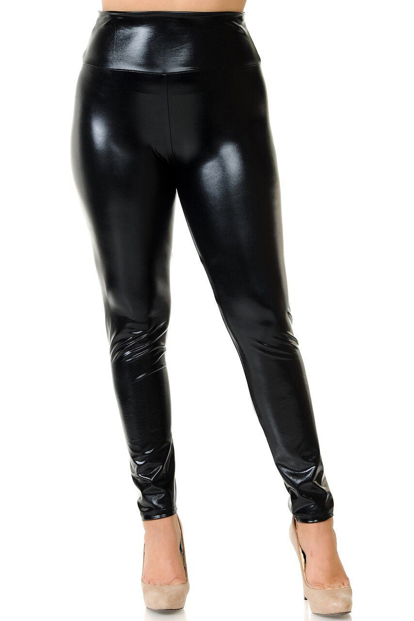 Front view image of black Shiny Metallic High Waisted Plus Size Leggings