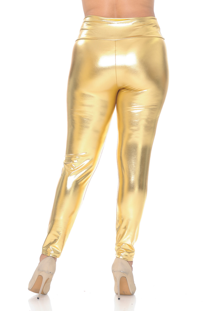 Back view image of gold Shiny Metallic High Waisted Plus Size Leggings