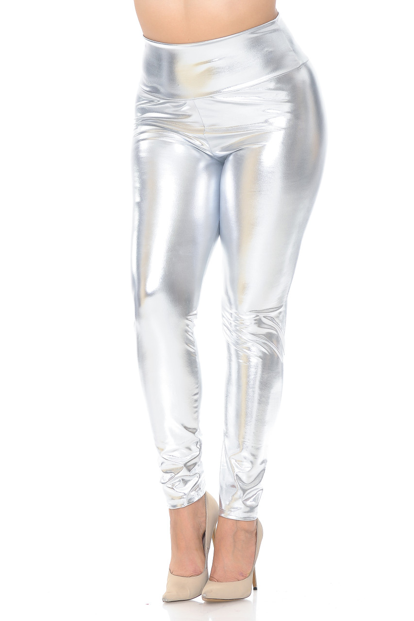 Front view image of silver Shiny Metallic High Waisted Plus Size Leggings