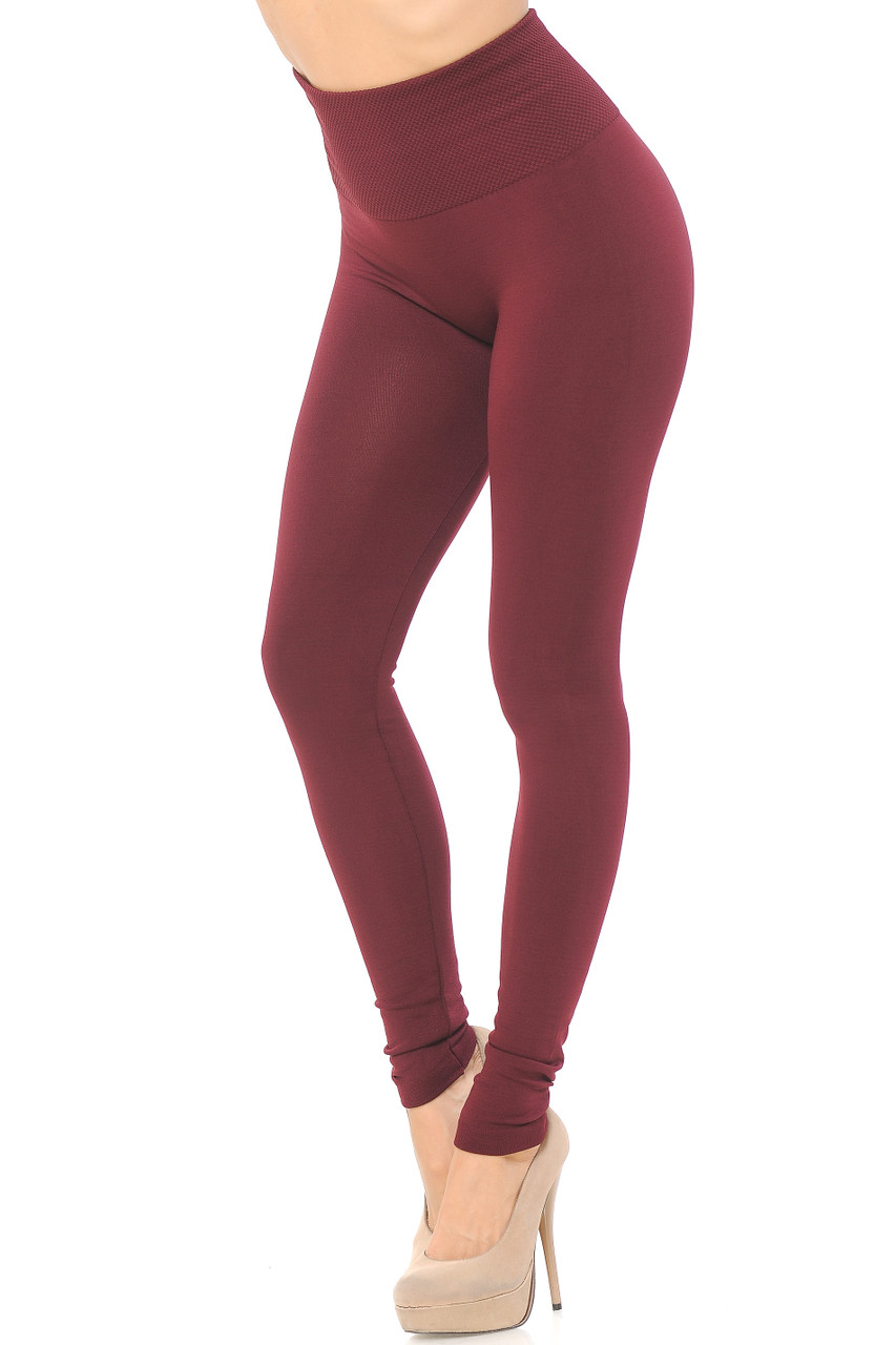 Right side/partial front view image of Dark Burgundy High Waisted Tummy Tuck Fleece Lined Leggings