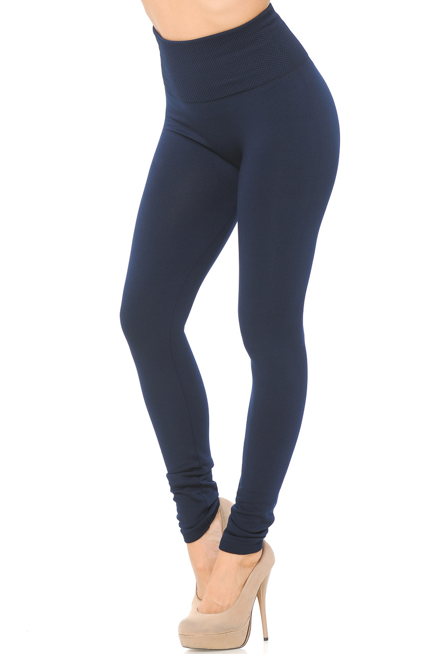 Right side/partial front view image of Navy High Waisted Tummy Tuck Fleece Lined Leggings