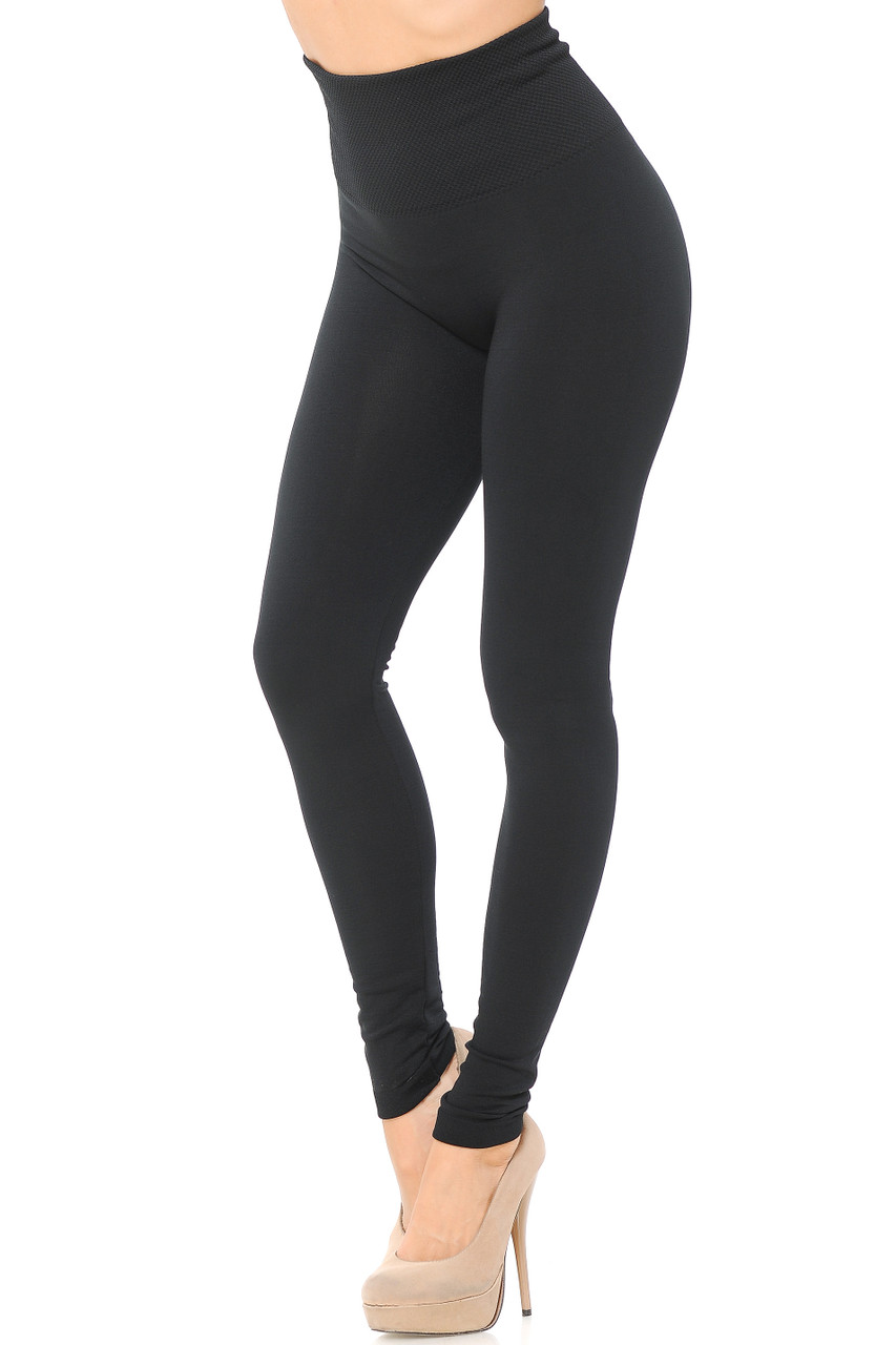 Right side/partial front view image of Black High Waisted Tummy Tuck Fleece Lined Leggings