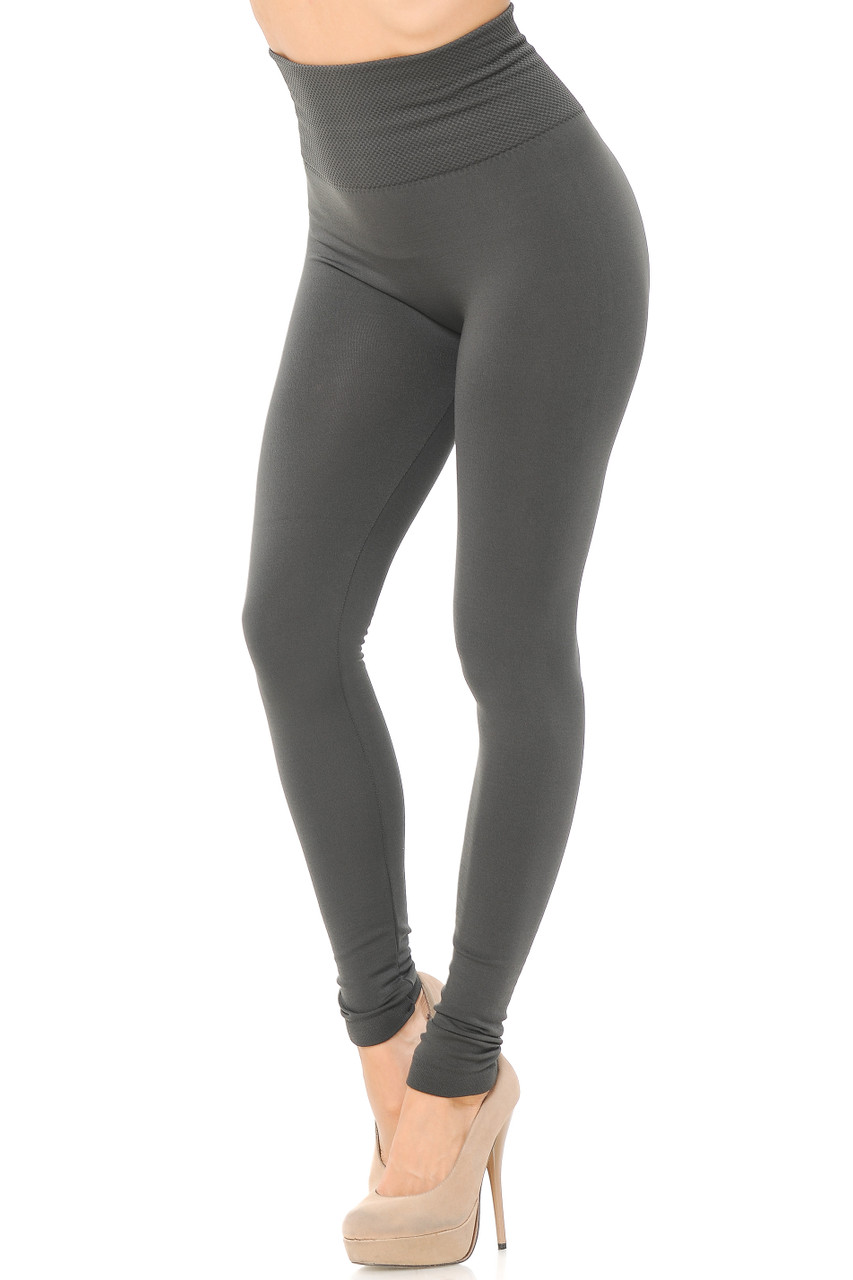 Right side/partial front view image of Ash Grey High Waisted Tummy Tuck Fleece Lined Leggings