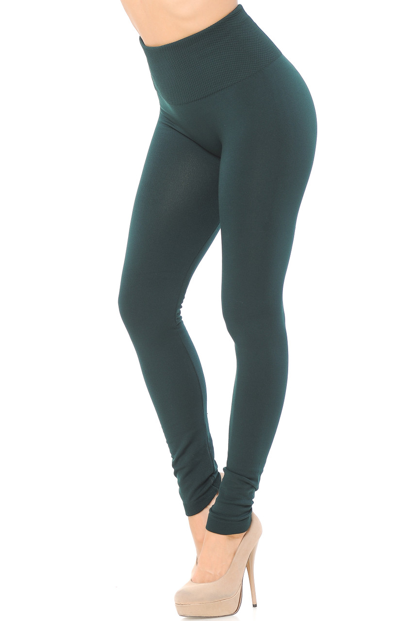 Right side/partial front view image of Hunter Green High Waisted Tummy Tuck Fleece Lined Leggings