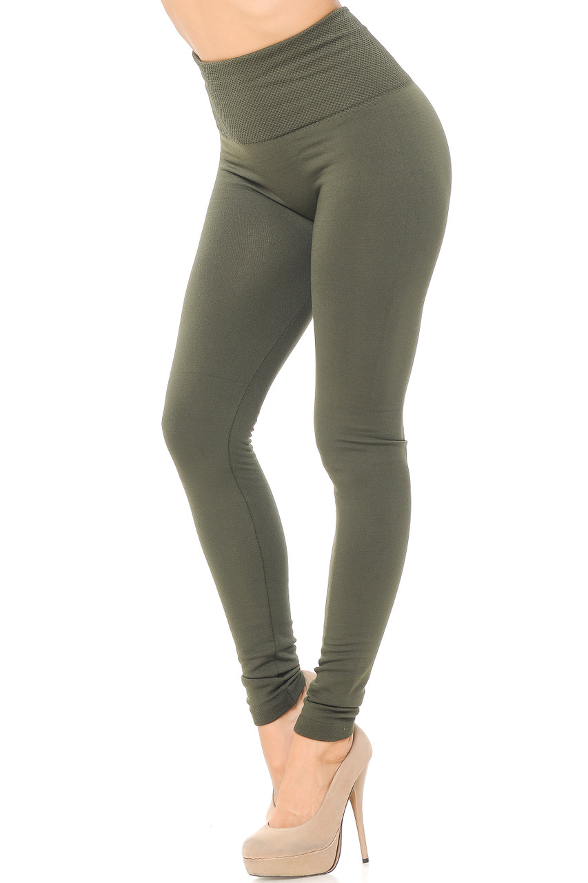 Right side/partial front view image of Dark Olive High Waisted Tummy Tuck Fleece Lined Leggings