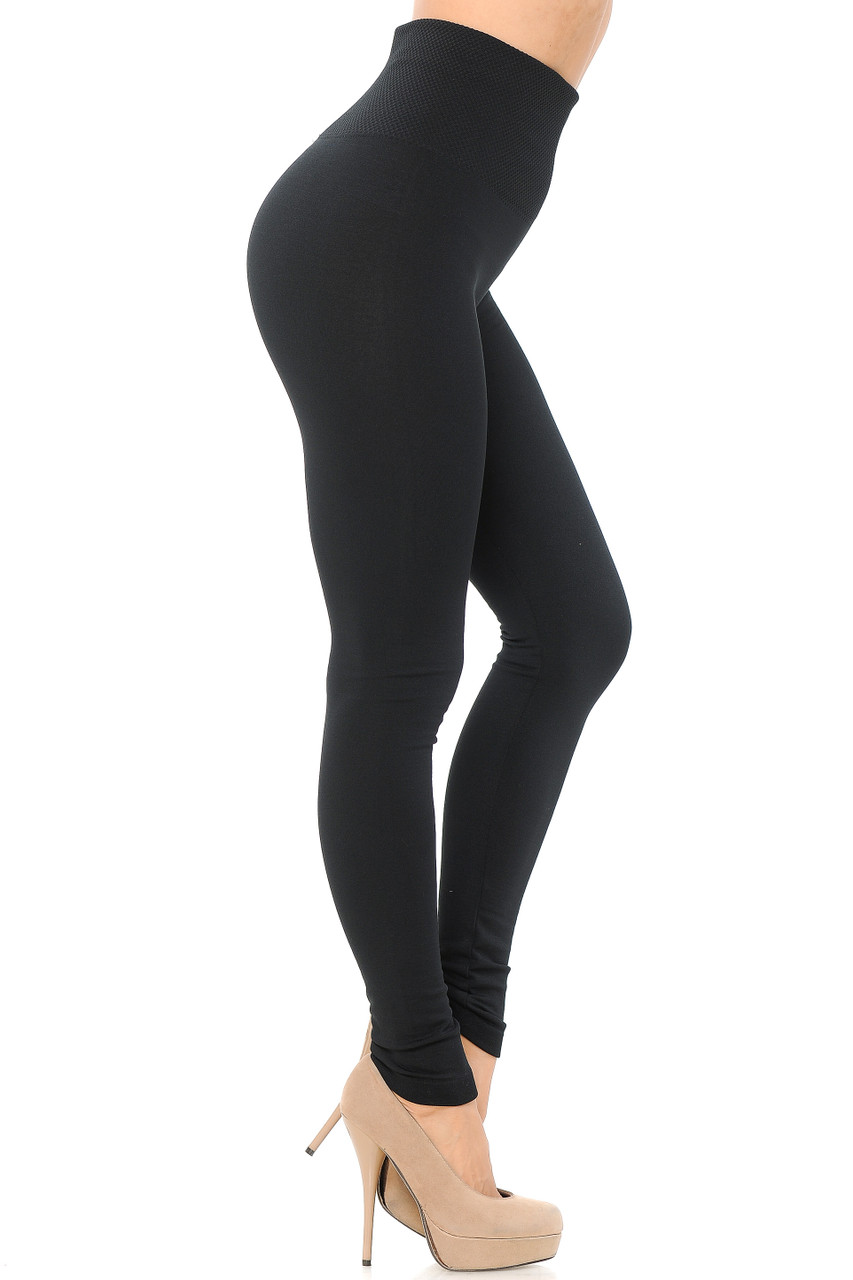 Right side view of Black High Waisted Tummy Tuck Fleece Lined Leggings