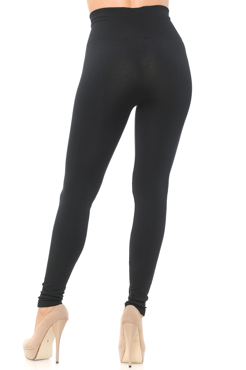 Rear view image of Black High Waisted Tummy Tuck Fleece Lined Leggings