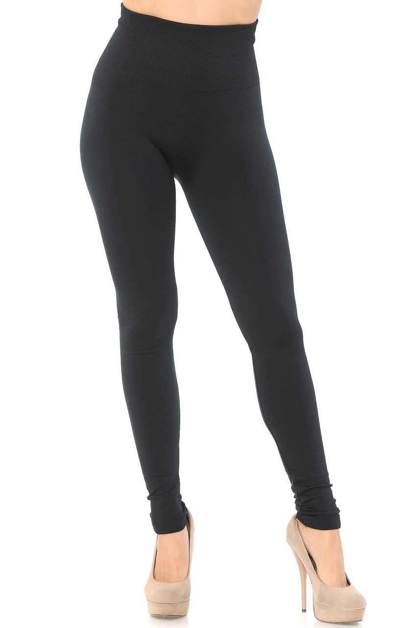 Front view image of High Waisted Tummy Tuck Fleece Lined Leggings