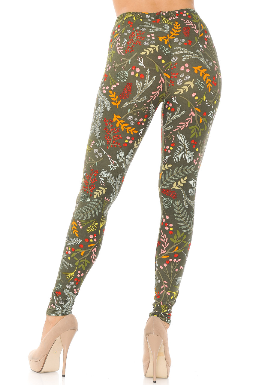 Back view image of Buttery Soft Olive Garden Leggings with an ultra flattering fit and a color palette that suits any season.