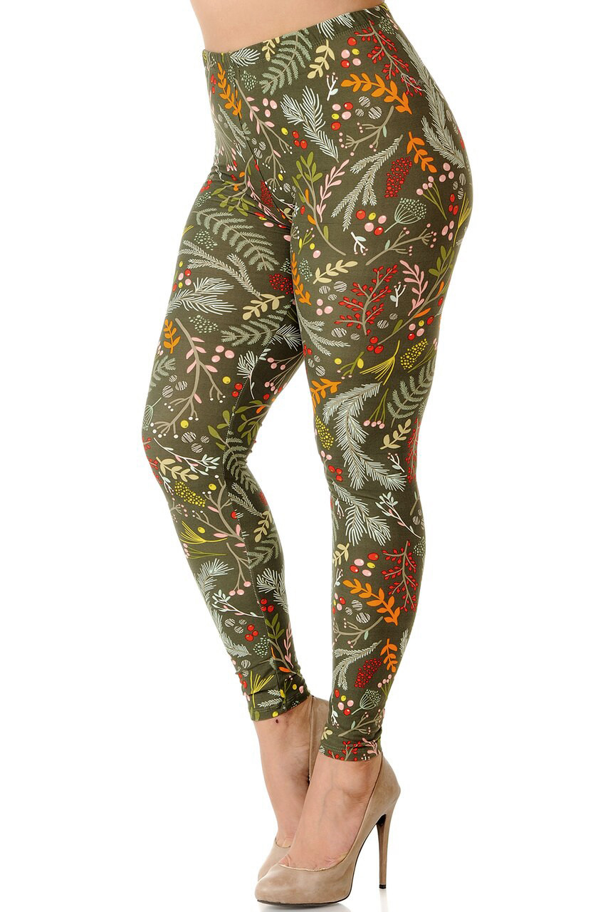 Front view image of Buttery Soft Olive Garden Extra Plus Size Leggings with a deep brownish green background decorated with a yellow, red, and lighter green floral design.