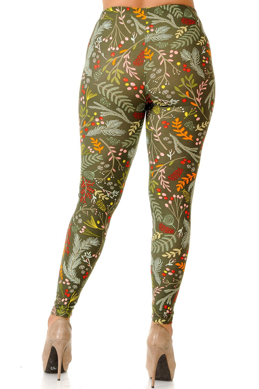 Back view image of Buttery Soft Olive Garden Extra Plus Size Leggings with an ultra flattering fit and a color palette that suits any season.
