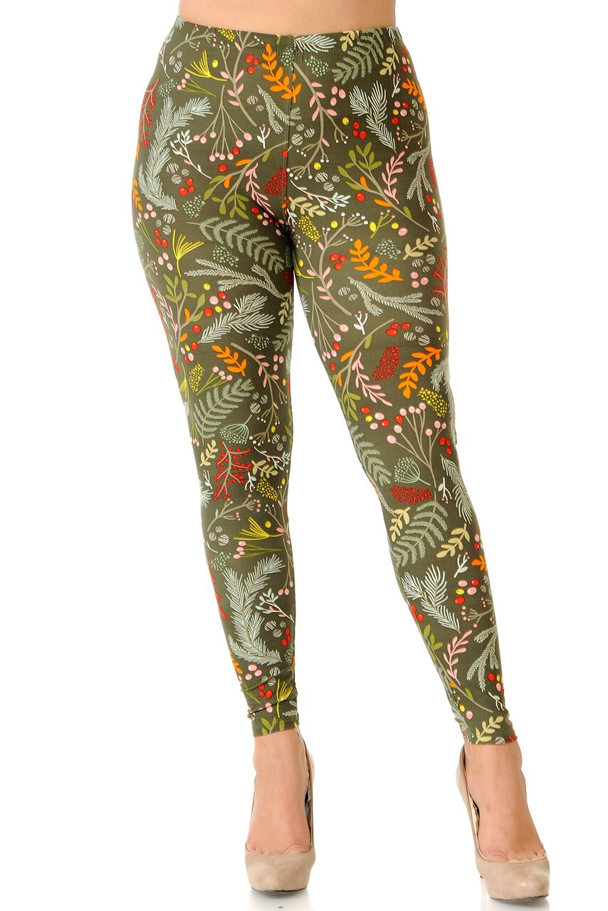 Front view image of full length Buttery Soft Olive Garden Extra Plus Size Leggings with a skinny leg cut.