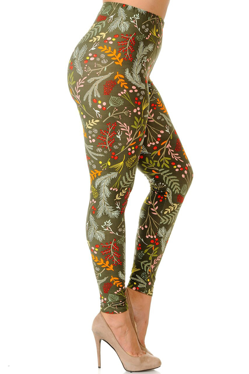 Right side view image of Buttery Soft Olive Garden Extra Plus Size Leggings - 3X-5X