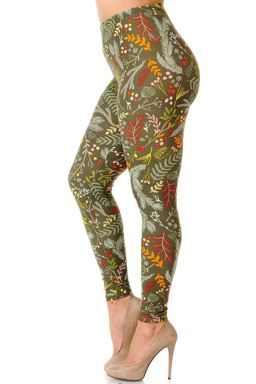 Left side view image of Buttery Soft Olive Garden Extra Plus Size Leggings - 3X-5X