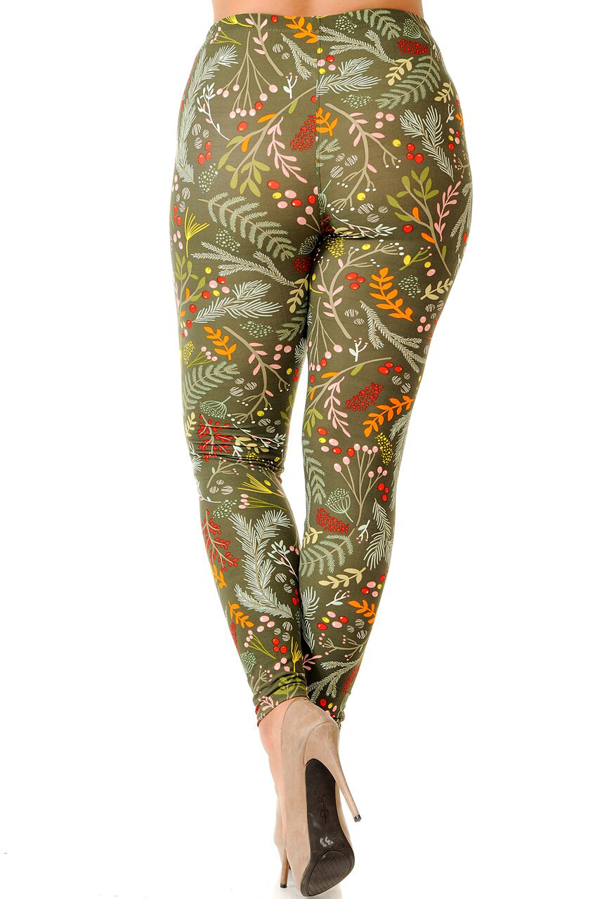 Rear view image of Buttery Soft Olive Garden Extra Plus Size Leggings - 3X-5X