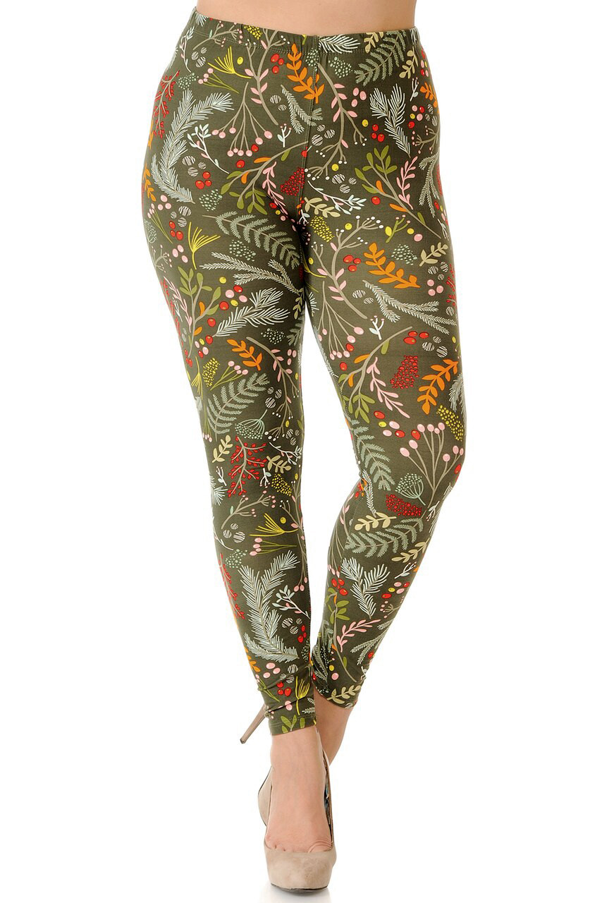 Front image of mid rise Buttery Soft Olive Garden Extra Plus Size Leggings with an elastic waistband.