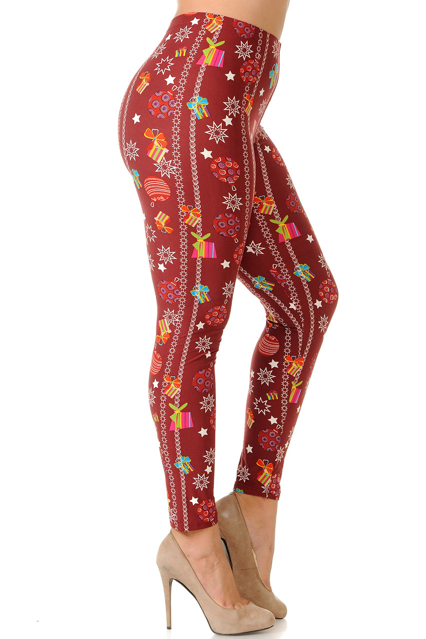 Right side view image of Buttery Soft Burgundy Christmas Ornaments Plus Size Leggings