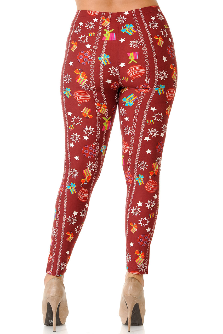Rear view image of Buttery Soft Burgundy Christmas Ornaments Plus Size Leggings perfect for the holiday season.