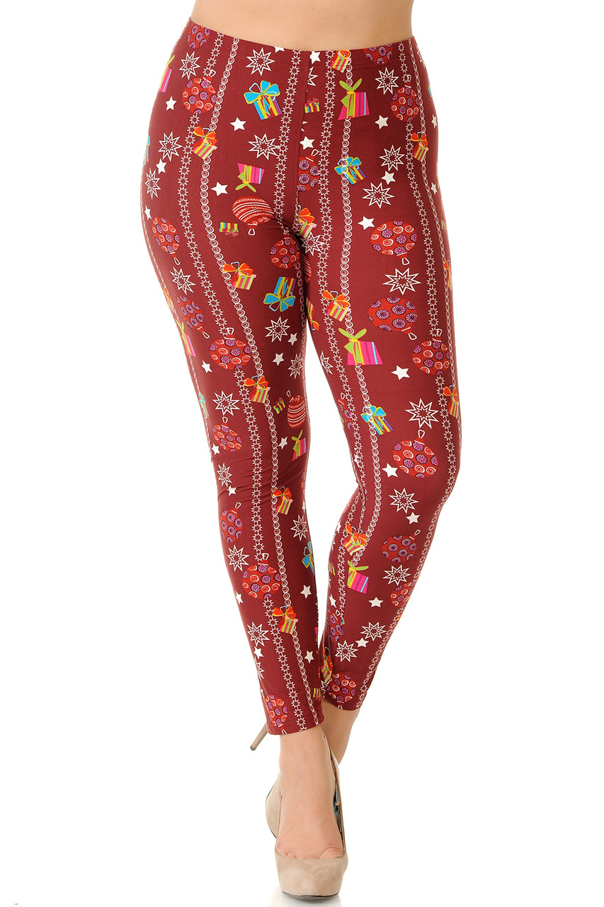 Front view of mid rise Buttery Soft Burgundy Christmas Ornaments Plus Size Leggings featuring a comfort elastic stretch waist.